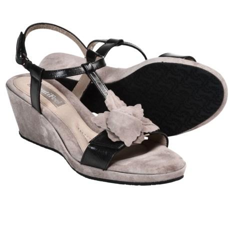 BeautiFeel Capri Sandals - Leather, Wedge Heel (For Women) in Black