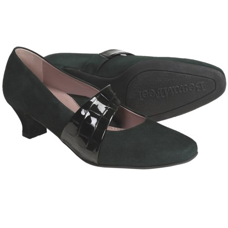 BeautiFeel Victoria Suede Pumps (For Women) in Green Suede/Croco Patent