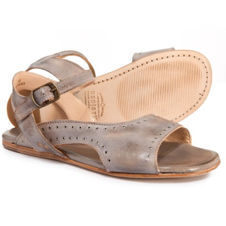 Bed Stu Auburn Flat Sandals - Leather (For Women) in Light Grey Rustic