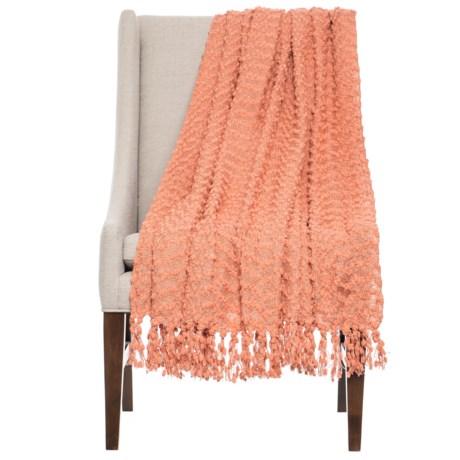 "Bedford Collection Rockaway Novelty Yarn Throw Blanket - 50x70"" in Coral"