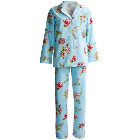 BedHead Brushed Flannel Pajamas - Long Sleeve (For Women) in Aqua Botanical