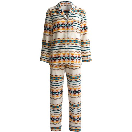 BedHead Brushed Flannel Pajamas - Long Sleeve (For Women) in Golden Santa Fe