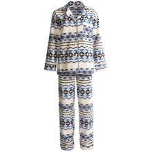BedHead Brushed Flannel Pajamas - Long Sleeve (For Women) in Ivory Blue Santa Fe - Closeouts