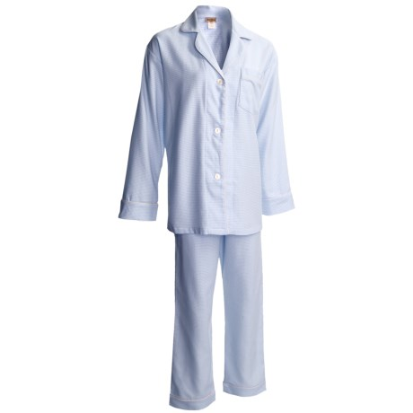 BedHead Flannel Pajamas - Cotton, Long Sleeve (For Women) in Blue Mini Houndstooth