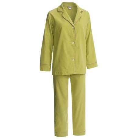 BedHead Flannel Pajamas - Cotton, Long Sleeve (For Women) in Leaf
