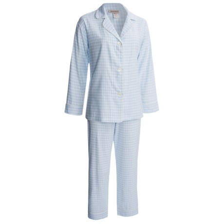 BedHead Flannel Pajamas - Cotton, Long Sleeve (For Women) in Light Blue Gingham