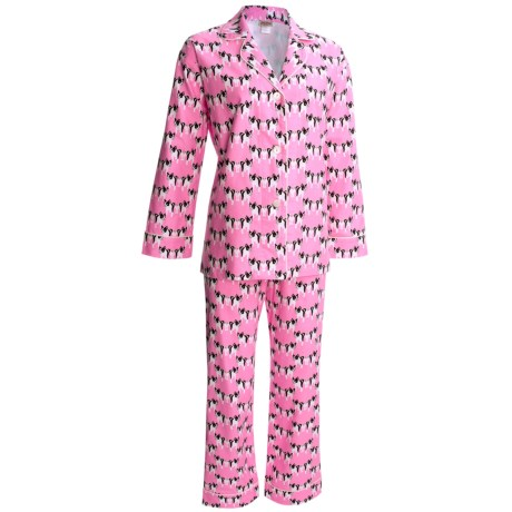 BedHead Flannel Pajamas - Cotton, Long Sleeve (For Women) in Pink Go Fetch