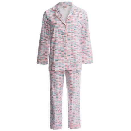 BedHead Flannel Pajamas - Cotton, Long Sleeve (For Women) in Pink Triangle