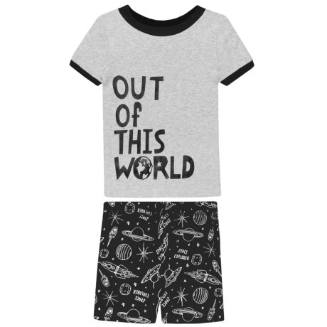 BedHead Out of This World Shirt and Shorts Pajamas - Short Sleeve (For Kids) in Black/White