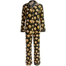 Bedhead Patterned Cotton Knit Pajamas - Long Sleeve (For Women) in Black Cameo - Closeouts