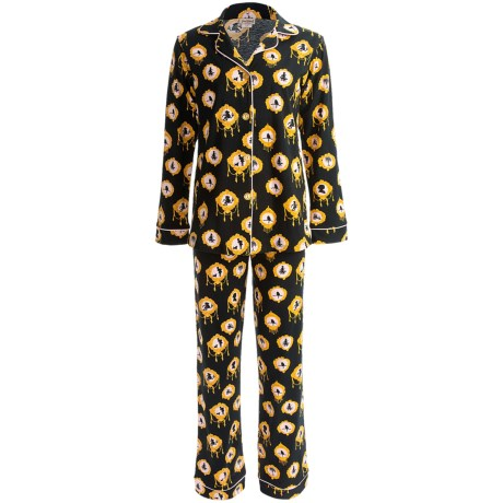 Bedhead Patterned Cotton Knit Pajamas - Long Sleeve (For Women) in Black Cameo