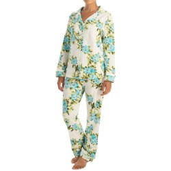 Bedhead Patterned Cotton Knit Pajamas - Long Sleeve (For Women) in Blue Hibiscus