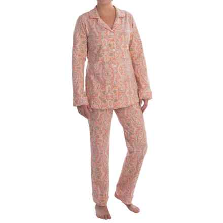 Bedhead Patterned Cotton Knit Pajamas - Long Sleeve (For Women) in Coral Boho Paisley - Closeouts