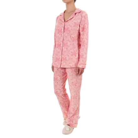 Bedhead Patterned Cotton Knit Pajamas - Long Sleeve (For Women) in Coral Chantilly Lace - Closeouts