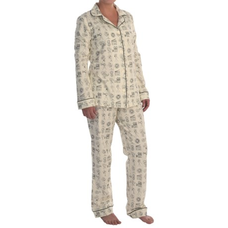 Bedhead Patterned Cotton Knit Pajamas - Long Sleeve (For Women) in Lights Camera Action!