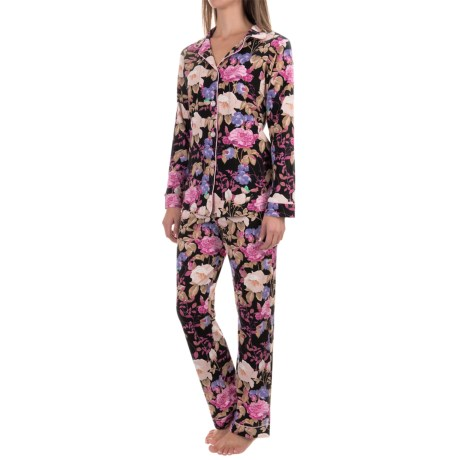 Bedhead Patterned Cotton Knit Pajamas - Long Sleeve (For Women) in Noir Closet Romantic