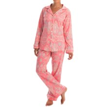 Bedhead Patterned Cotton Knit Pajamas - Long Sleeve (For Women) in Paisley Park Pink - Closeouts