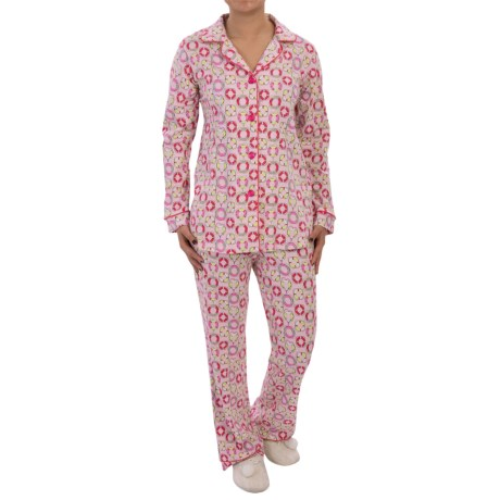 Bedhead Patterned Cotton Knit Pajamas - Long Sleeve (For Women) in Pink Life Saver