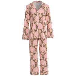 Bedhead Patterned Cotton Knit Pajamas - Long Sleeve (For Women) in Navy Rose