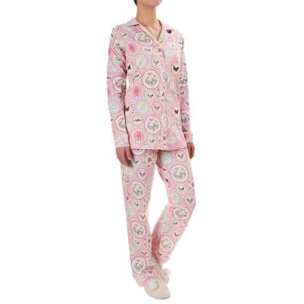 Bedhead Patterned Cotton Knit Pajamas - Long Sleeve (For Women) in Pink Plat Du Jour - Closeouts