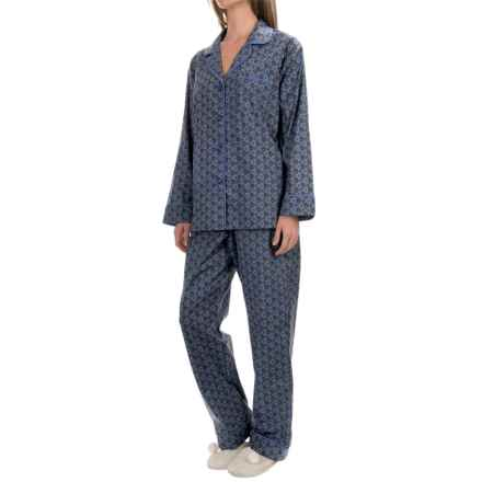 BedHead Printed Cotton Poplin Pajamas - Long Sleeve (For Women) in Blue Diamonds Medallion - Closeouts