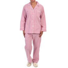 BedHead Printed Cotton Poplin Pajamas - Long Sleeve (For Women) in Coral Pink Stripe - Closeouts