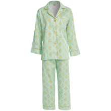 Bedhead Printed Cotton Sateen Pajamas - 300 Thread Count, Long Sleeve (For Women) in Aqua/Gold Fleur De Lis - Closeouts