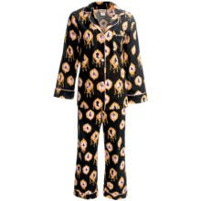 Bedhead Printed Cotton Sateen Pajamas - 300 Thread Count, Long Sleeve (For Women) in Black Cameo - Closeouts