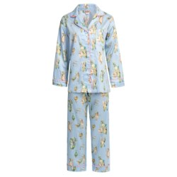 Bedhead Printed Cotton Sateen Pajamas - 300 Thread Count, Long Sleeve (For Women) in Blue Madame Butterfly