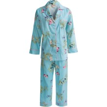 Bedhead Printed Cotton Sateen Pajamas - 300 Thread Count, Long Sleeve (For Women) in Blue Madame Butterfly - Closeouts