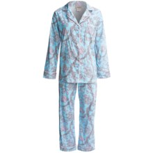 Bedhead Printed Cotton Sateen Pajamas - 300 Thread Count, Long Sleeve (For Women) in Blue Vienna - Closeouts