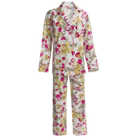 Bedhead Printed Cotton Sateen Pajamas - 300 Thread Count, Long Sleeve (For Women) in Crème Secret Garden