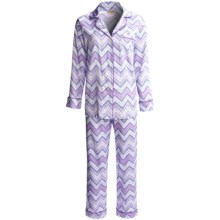 Bedhead Printed Cotton Sateen Pajamas - 300 Thread Count, Long Sleeve (For Women) in Lilac Zig Zag - Closeouts