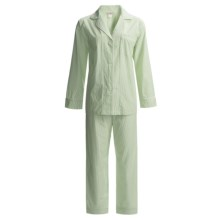 Bedhead Printed Cotton Sateen Pajamas - 300 Thread Count, Long Sleeve (For Women) in Lime Pinstripe - Closeouts