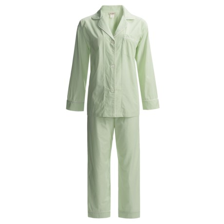 Bedhead Printed Cotton Sateen Pajamas - 300 Thread Count, Long Sleeve (For Women) in Lime Pinstripe