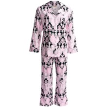 Bedhead Printed Cotton Sateen Pajamas - 300 Thread Count, Long Sleeve (For Women) in Pink Damsk - Closeouts