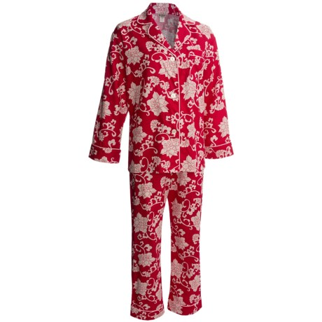 Bedhead Printed Cotton Sateen Pajamas - 300 Thread Count, Long Sleeve (For Women) in Ruby Dynasty