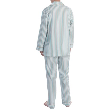 Bedhead Printed Cotton Sateen Pajamas - Long Sleeve (For Women) in Blue Railroad Stripe