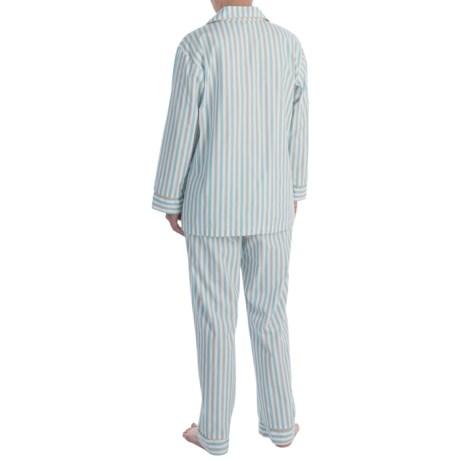 Bedhead Printed Cotton Sateen Pajamas - Long Sleeve (For Women) in Blue Railroad Stripe