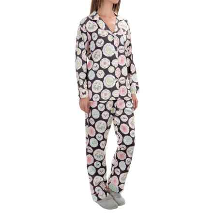 Bedhead Printed Cotton Sateen Pajamas - Long Sleeve (For Women) in Charcoal Plat Du Jour - Closeouts