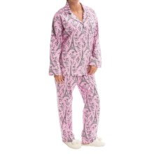Bedhead Printed Cotton Sateen Pajamas - Long Sleeve (For Women) in Pink/Black Eiffel - Closeouts