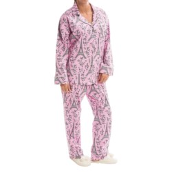 Bedhead Printed Cotton Sateen Pajamas - Long Sleeve (For Women) in Pink/Black Eiffel