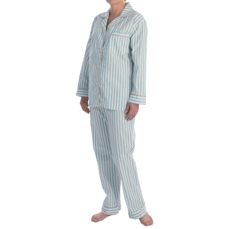 Bedhead Printed Cotton Sateen Pajamas - Long Sleeve (For Women) in Purple Pinstripes