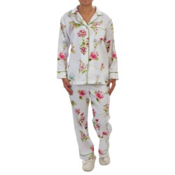 Bedhead Printed Cotton Sateen Pajamas - Long Sleeve (For Women) in Vanilla New York Botanical