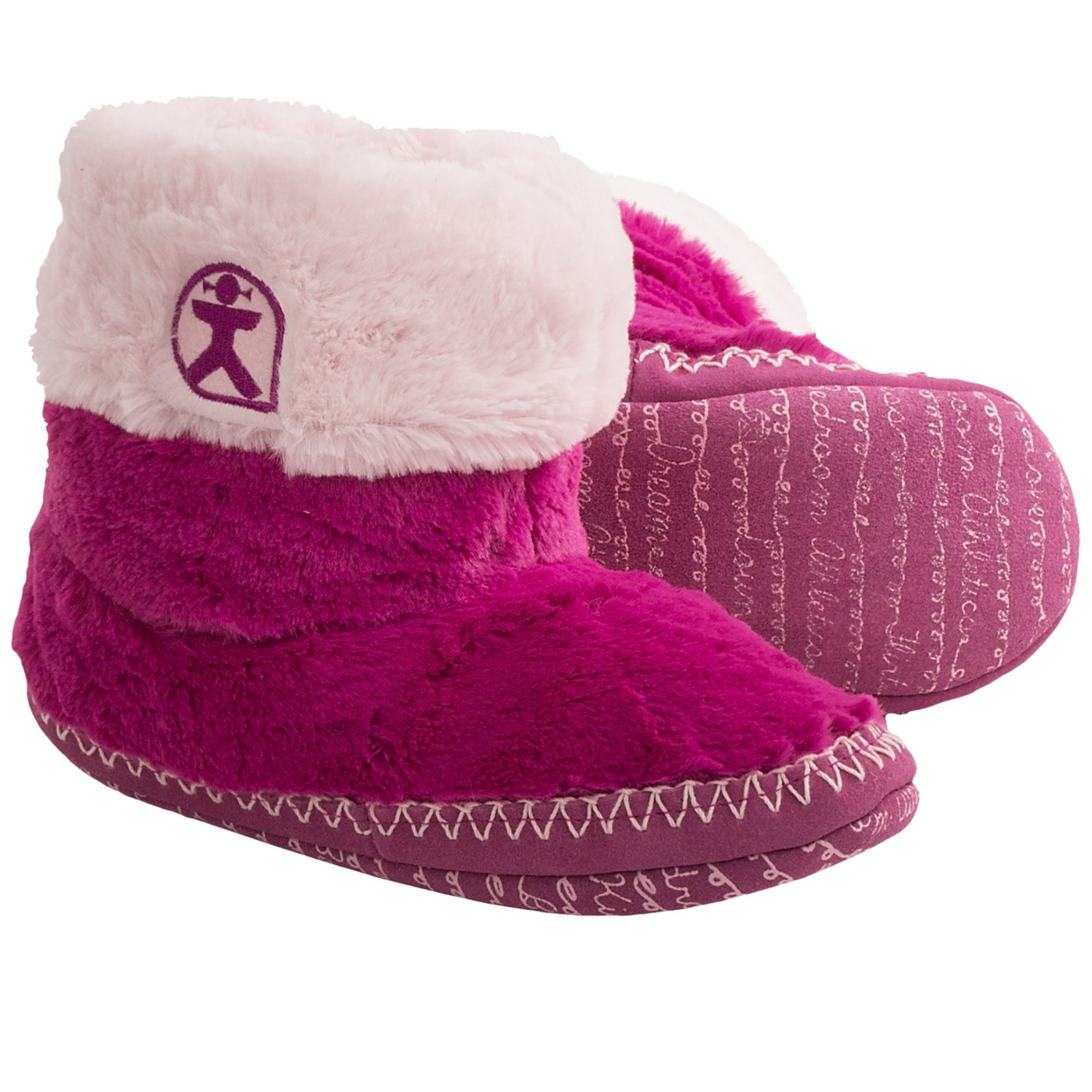 bedroom athletics fern boot slippers for women in hot pink soft pink