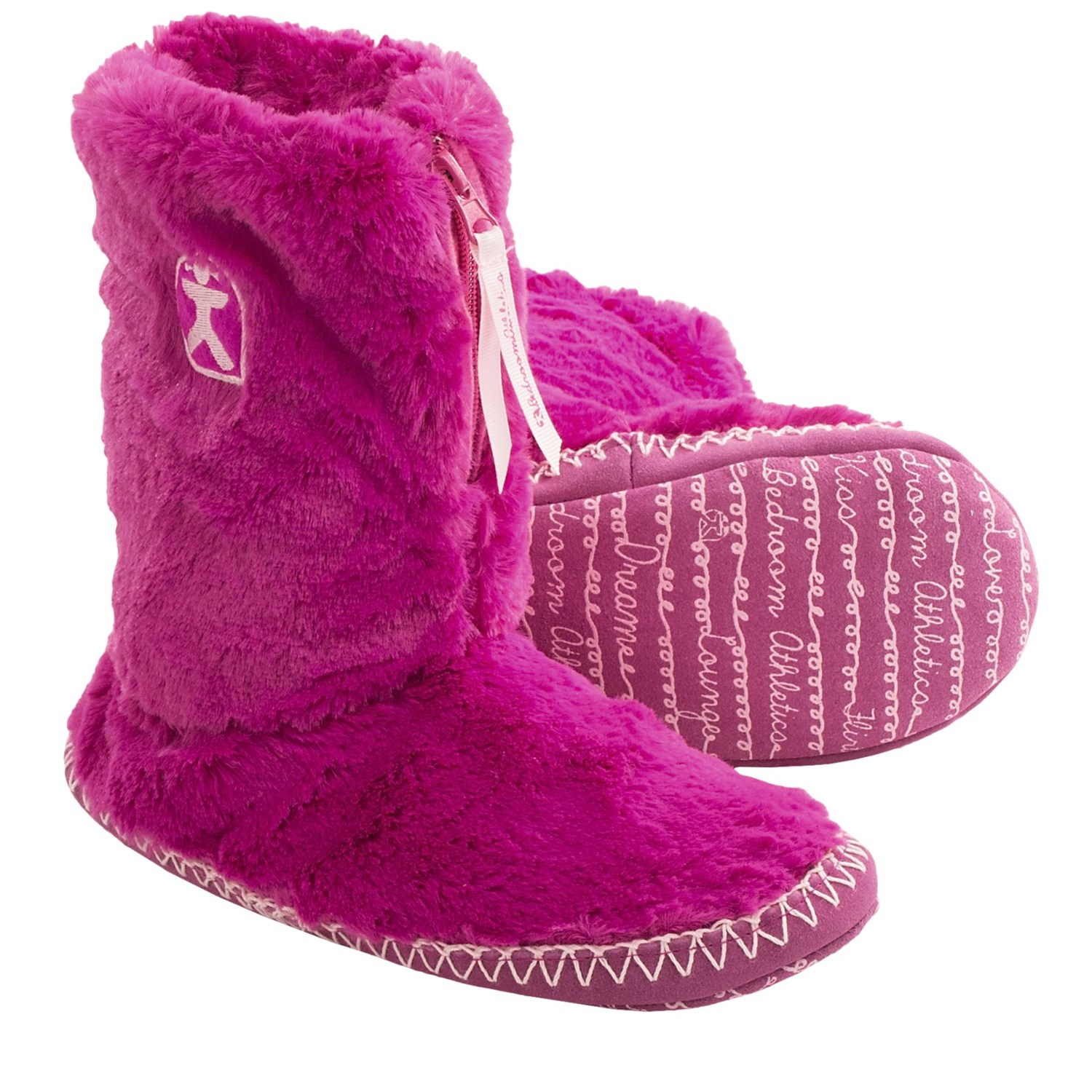 bedroom athletics marilyn boot slippers for women in hot pink