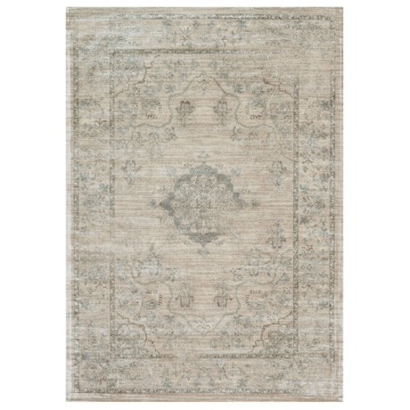 Image of Beige and Blue Contemporary-Look Area Rug - 5?x7?6? Viscose