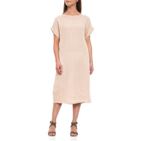 Image of Beige Italian Linen Midi Dress - Short Sleeve (For Women)