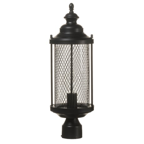 "BelAir Lighting Stewart Medium Mesh Postmount Outdoor Lantern - 20"" in Black"
