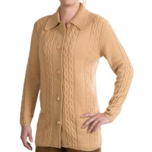 Belford Cable-Knit Cashmere Cardigan Sweater (For Women) in Camel - Closeouts